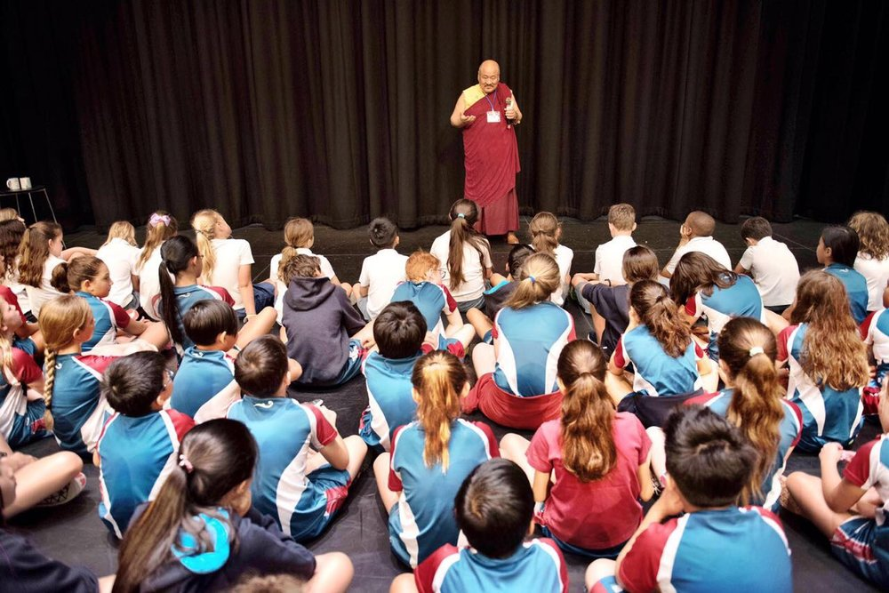 May 2017, Hong Kong. Khenpo Lungtaen Gyatso presented to year 4 and 5 students at the Hong Kong Academy Primary School.