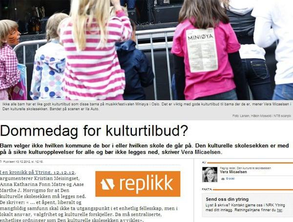Faksimile fra NRK Ytring 13. desember 2012