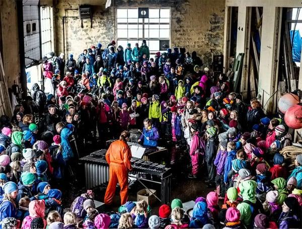 Fra RiksUltima 2015, samtidsmusikkfestival for barn på Vibrandsøy utenfor Haugesund. Foto: Lars Opstad