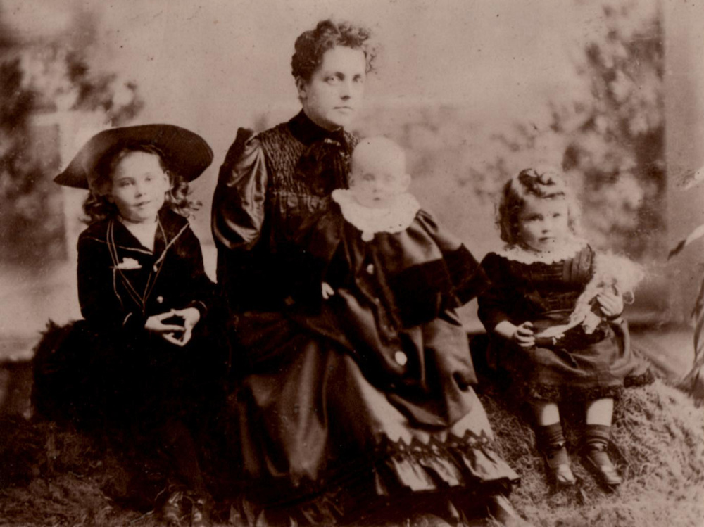 Left to right: Maura Wyse Power (age 5), Jennie Wyse Power (age 34), Charles Wyse Power (baby), Nancy Wyse Power (age 3). c. 1892