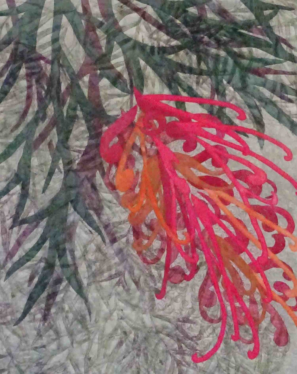"""Grevillea 2""       © CarolynCollinsArt 2016    16"" x 20""   Hand dyed and printed fabric"