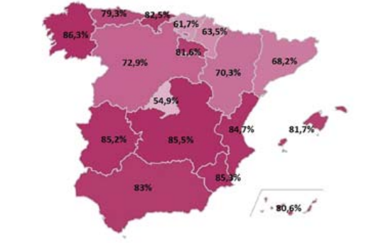 Percentage of private sector employment provided by family-owned firms in Spain, by Autonomous Region.
