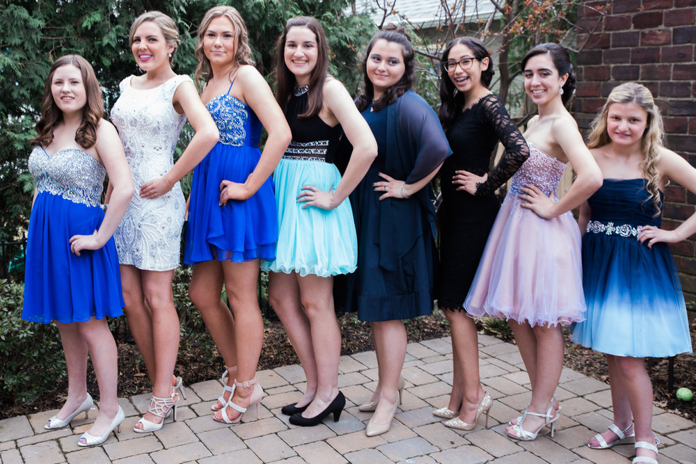 group of girl at prom
