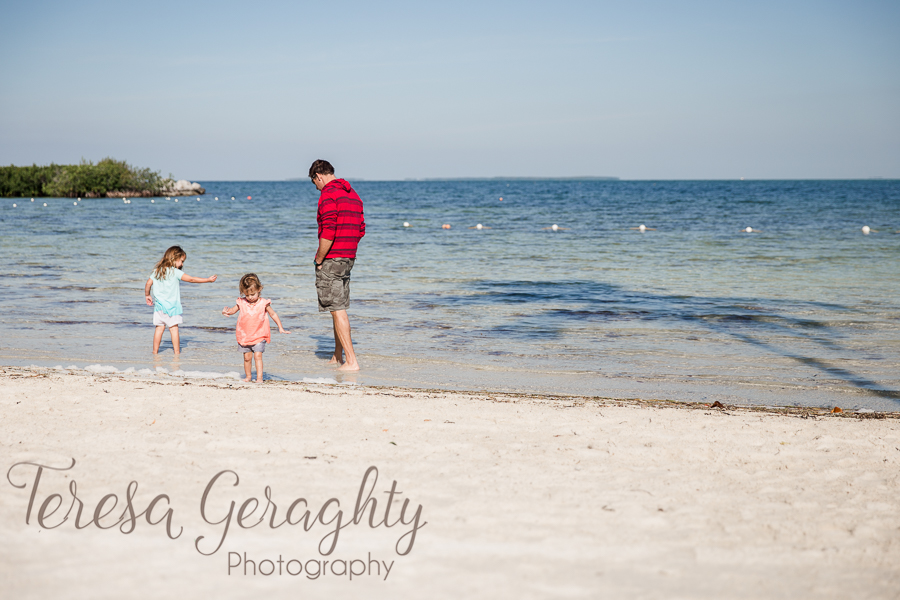 daddy and girls on beach in Islamorada