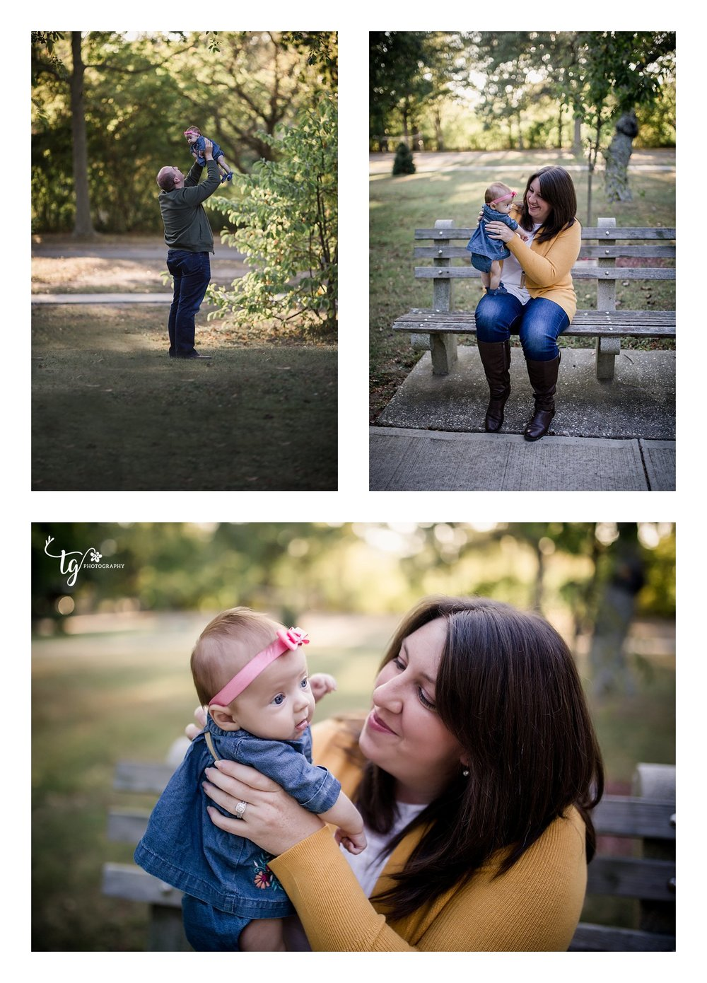 Parents holding and playing with a newborn baby girl in denim dress for fall photos