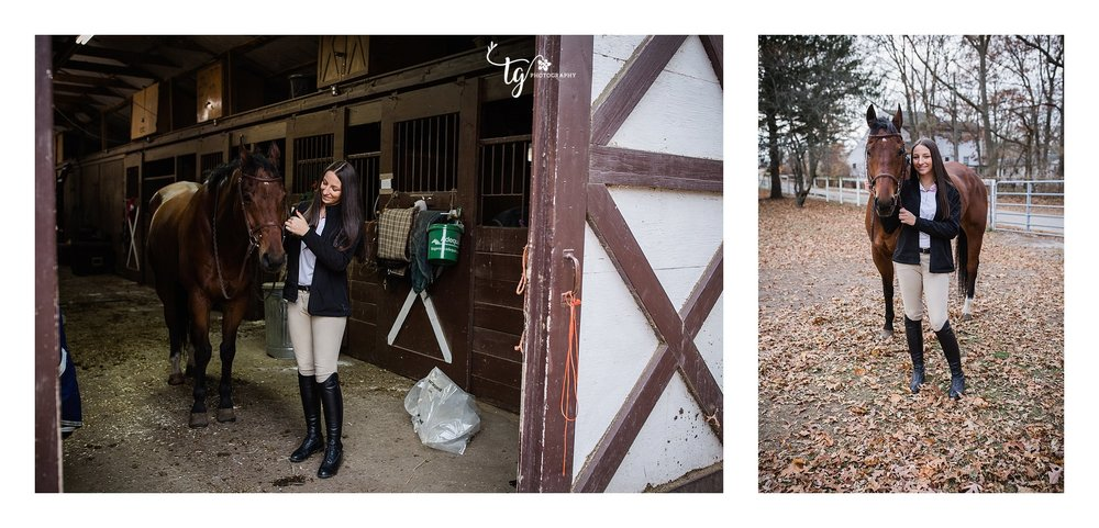 teen equestrian in riding attire in a barn with her horse