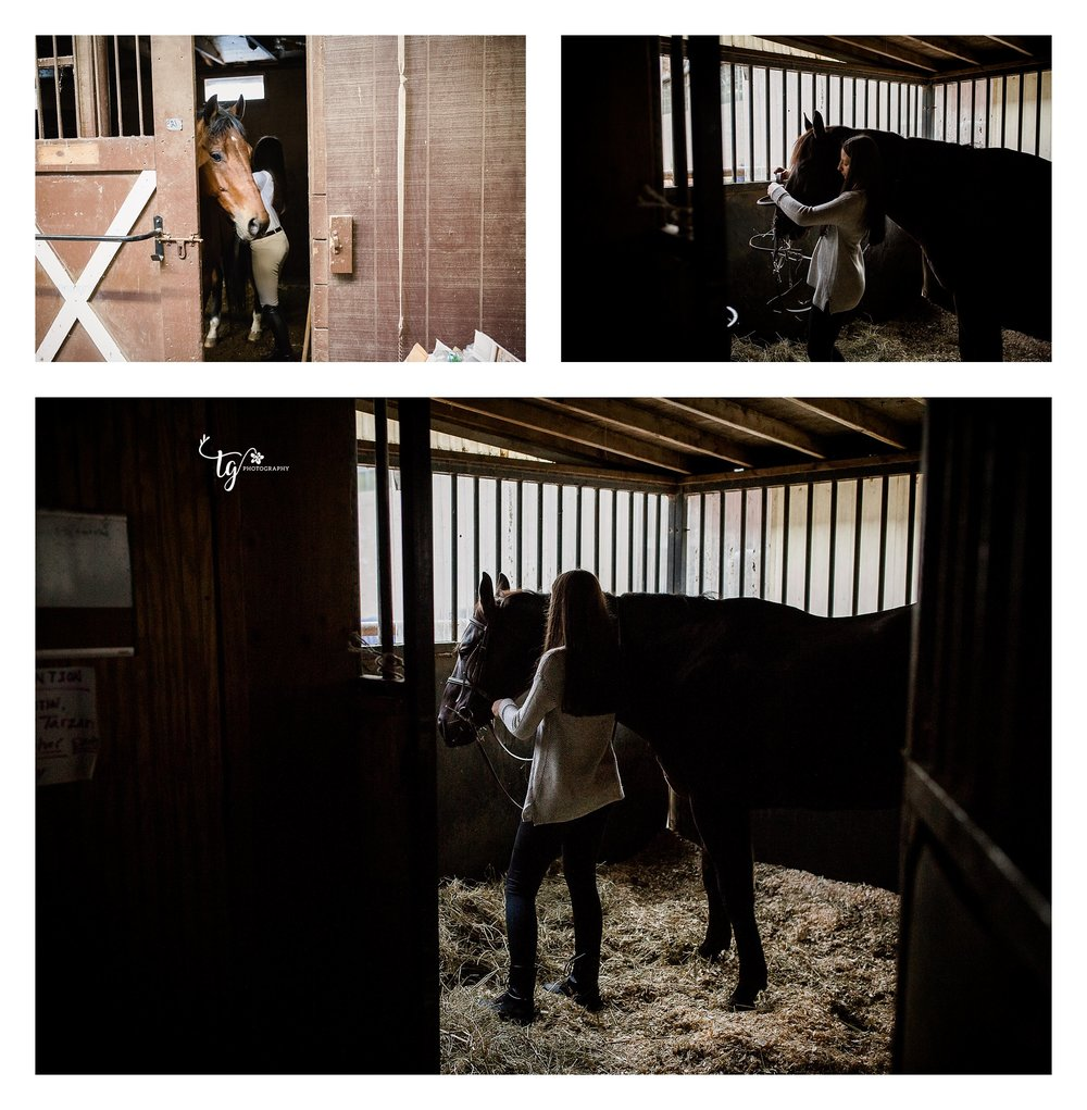 Equestrian prepping her horse in a darkly lit barn