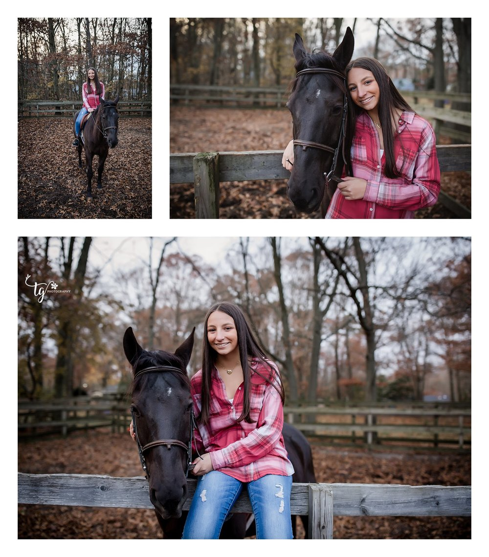 teen with her horse in red plaid shirt sitting on a farm fence with fall foliage