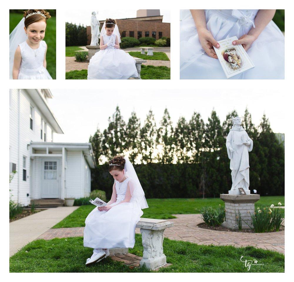 girl in communion dress praying in garden