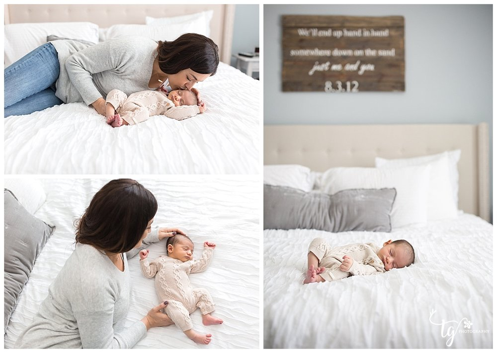 Relaxed and casual in home newborn photographer