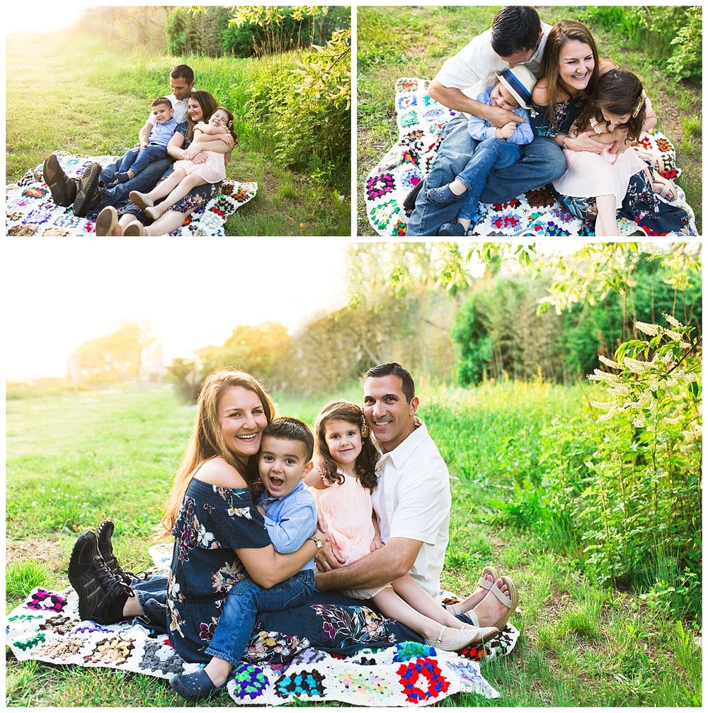 warm sunset family session