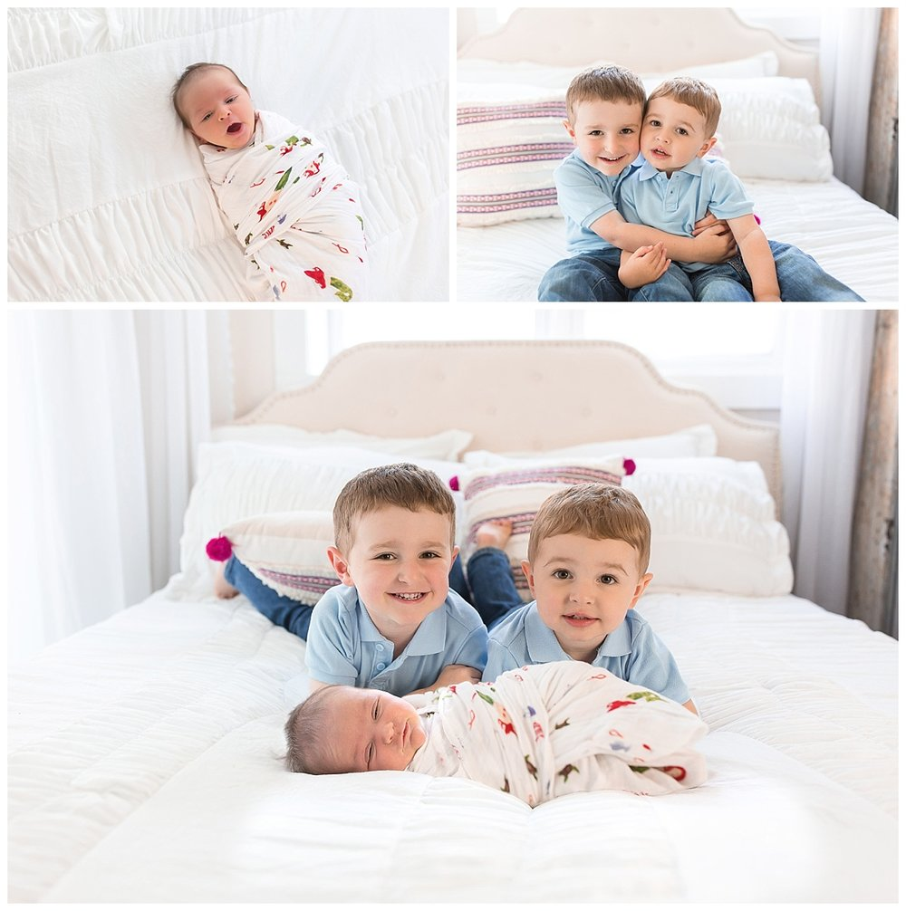 Family newborn photos in a studio
