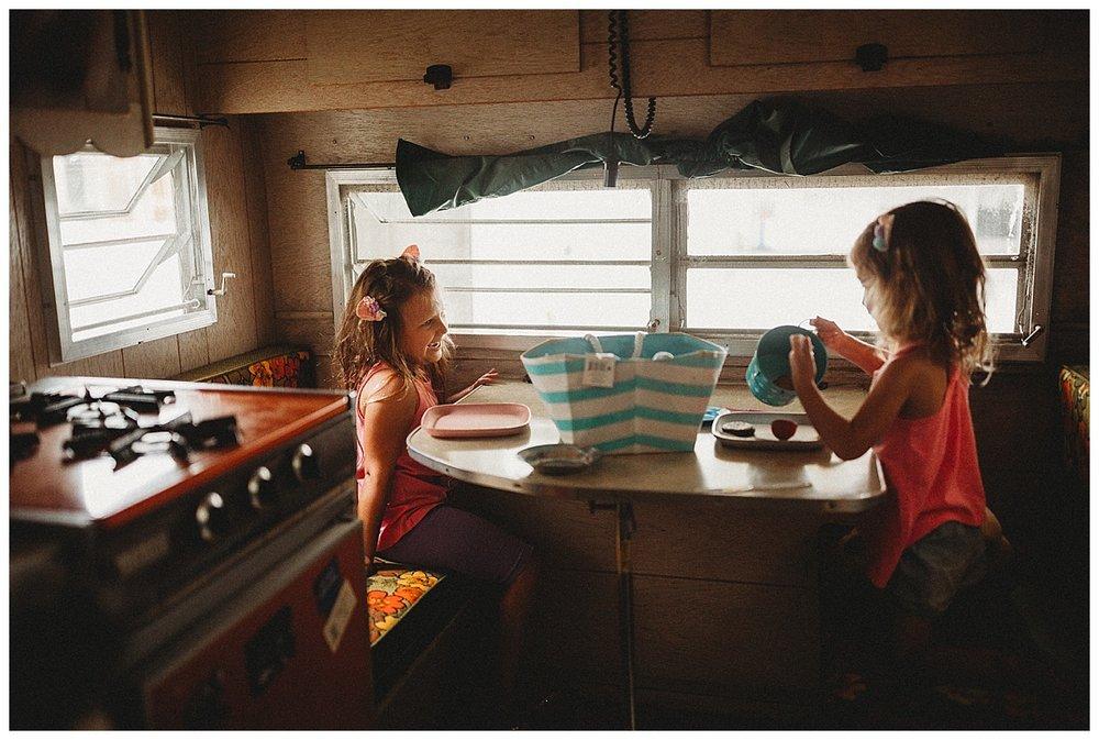 kitchen table of vintage camper