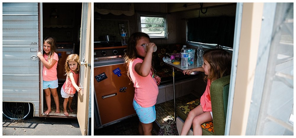 kids playing in vintage playmor camper and at the front door