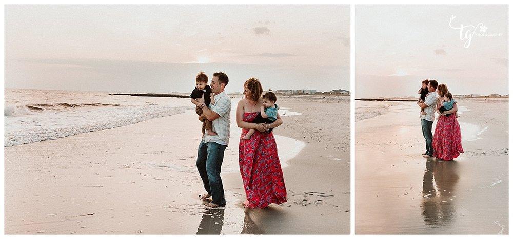 sunset beach family portraits