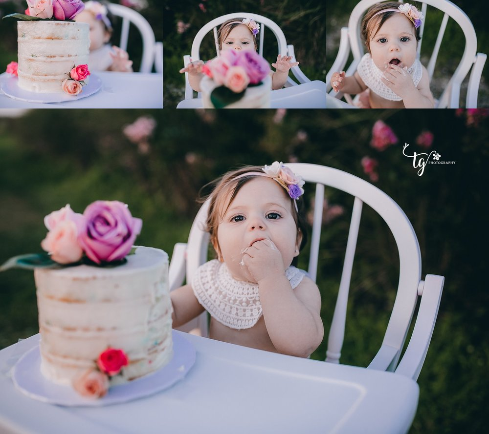 vintage styled outdoor cake smash