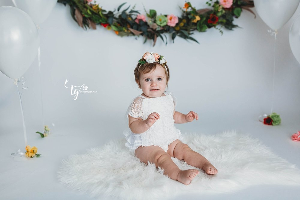 floral boho first birthday session
