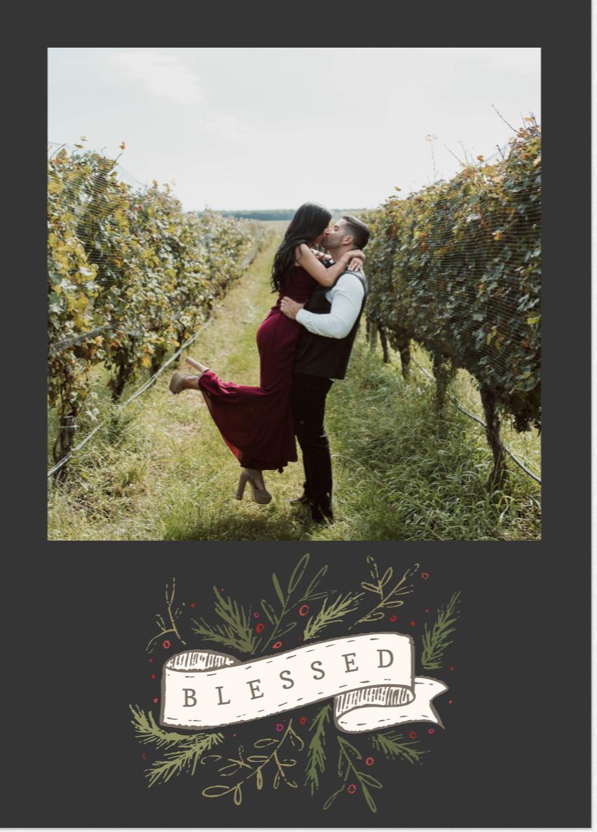 engaged couple Christmas card