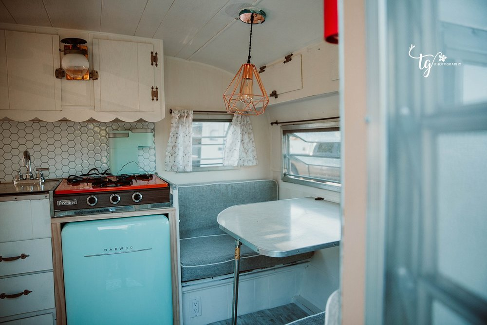 RENOVATED KITCHEN OF A 1969 PLAYMOR CAMPER