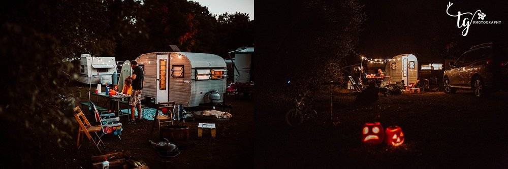 1969 CAMPER AT NIGHT