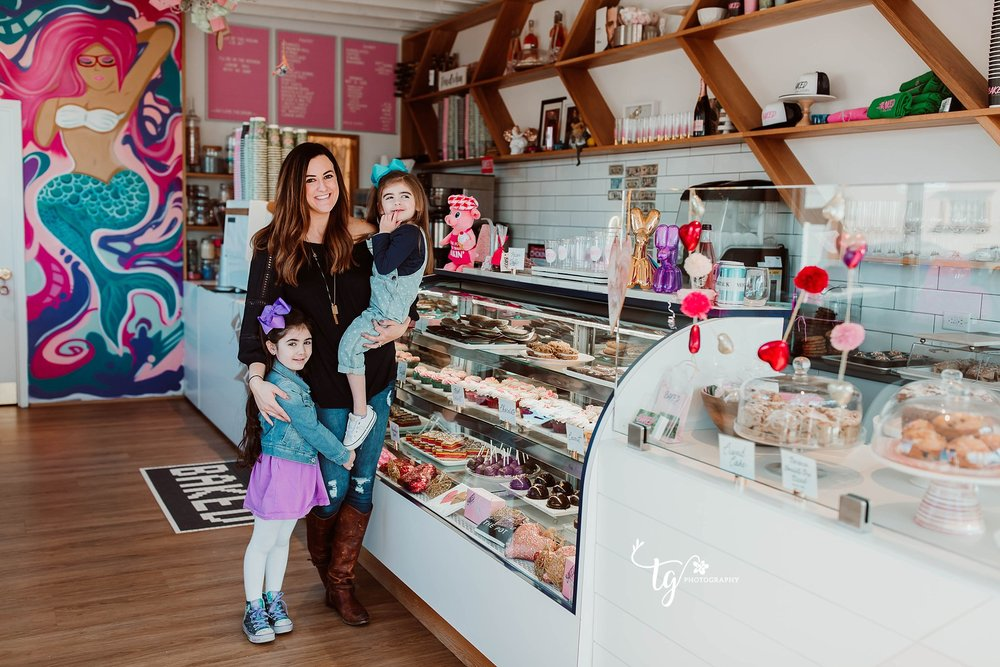 gorgeous mother and daughter photo session at a Modern Bakery