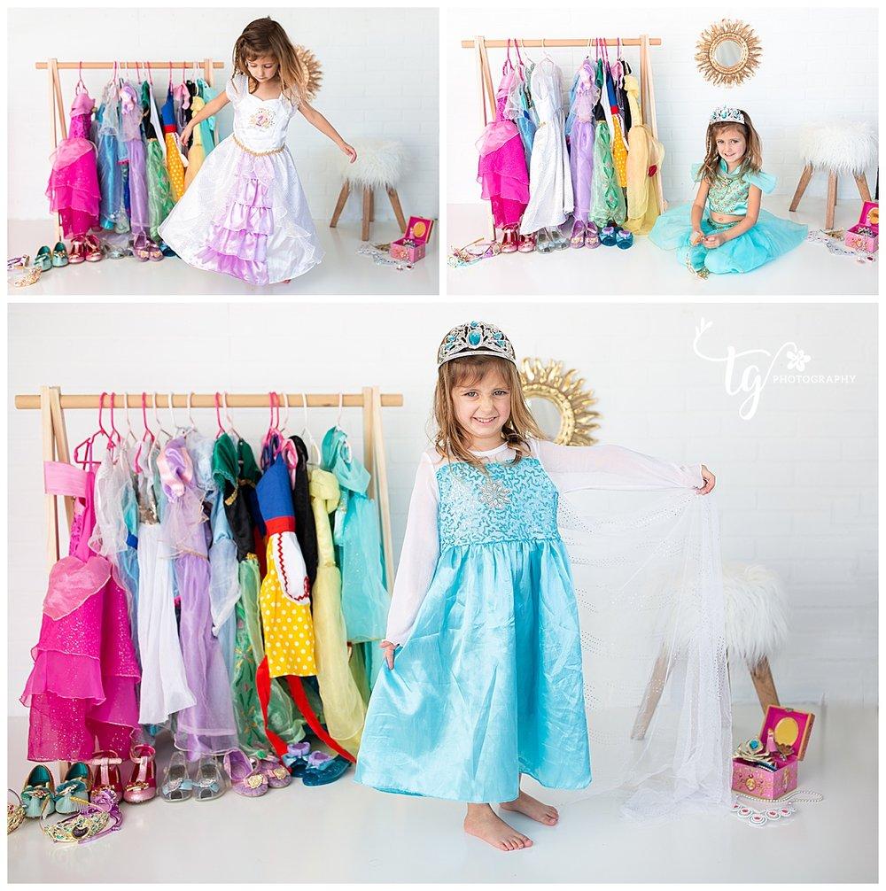 princess dress up toddler birthday session
