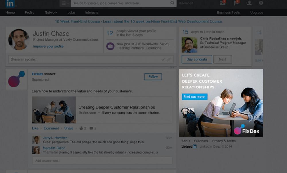 LinkedIn displayannoncer er som traditionel bannermarkedsføring, men på LinkedIn med en erhvervsmålgruppe