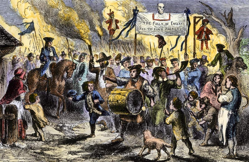 """The Stamp Act Riots at Boston, America, 1765,"" as depicted in  Historical Scrap Book  (Cassell & Company, c 1880)"