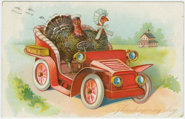 Turkeys in a car, 1907.