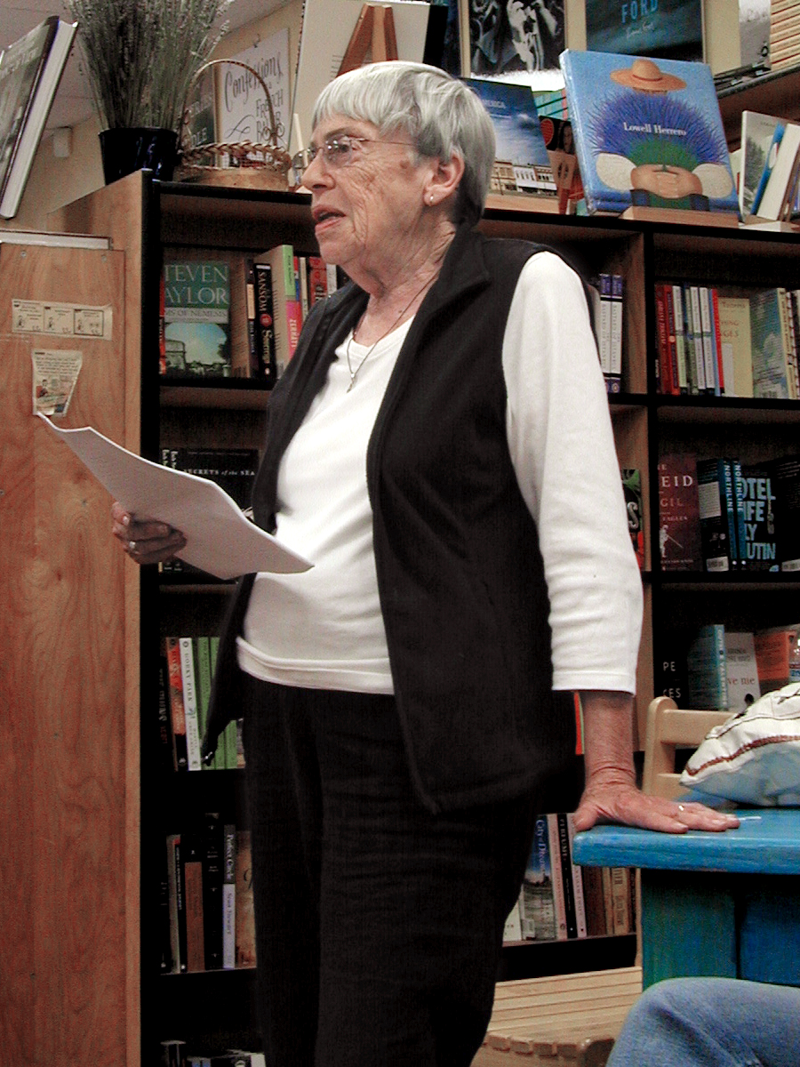 Ursula K. Le Guin reading from  Lavinia  at Rakestraw Books, Danville, California, on June 23, 2008. By Gorthian. Source: Wikimedia Commons