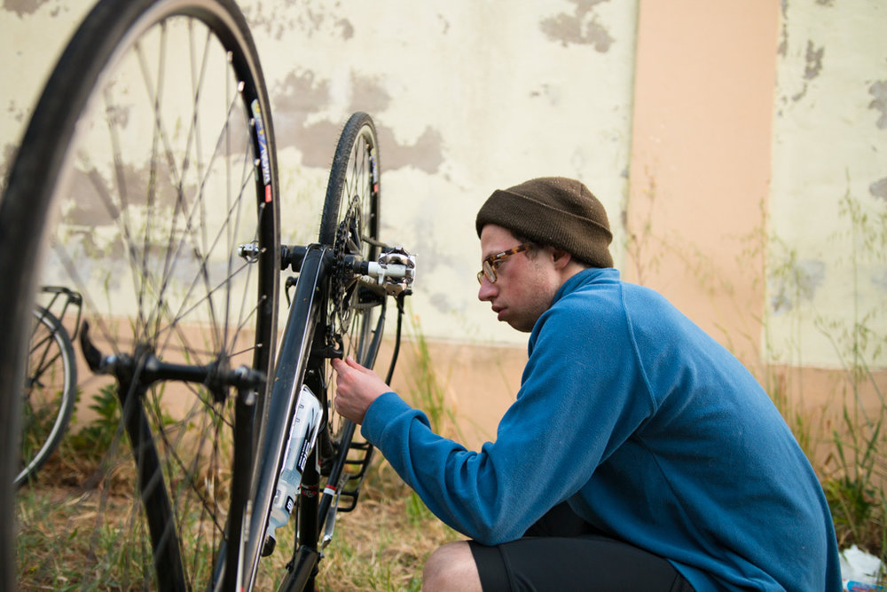 © Harry Crotty: Luke fixes his tyre while the rest of us did 'Worshipping slug'