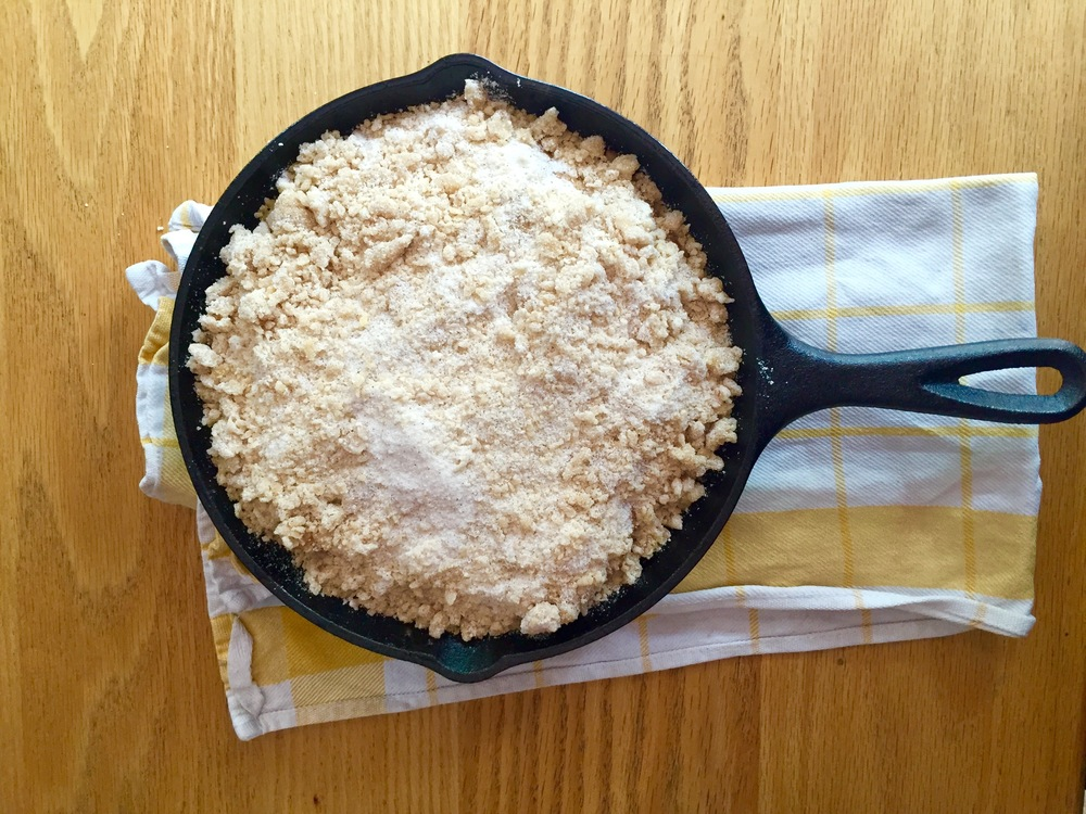 Top with the dry crumble mixture