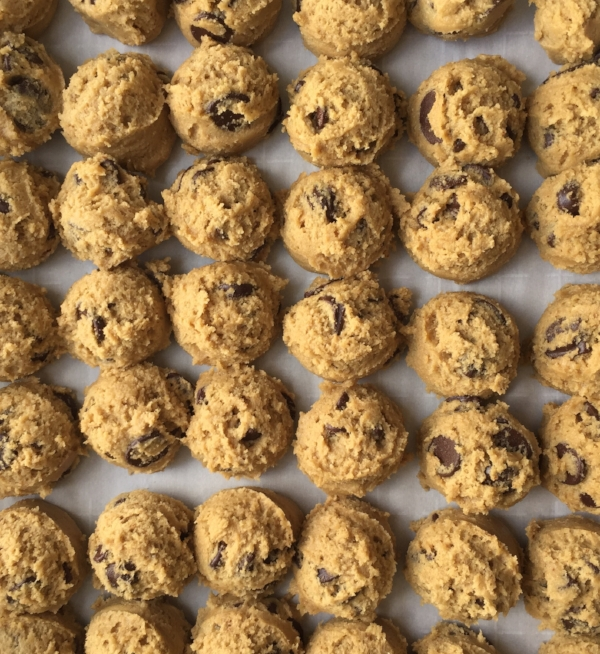 The cookie dough getting ready to freeze!