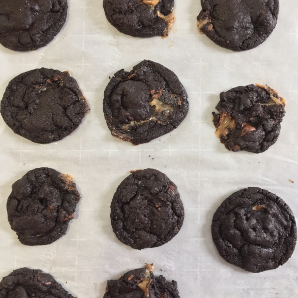 The rolos ooze out - these are messy cookies. Trust me, no one will care when they taste how good they are!