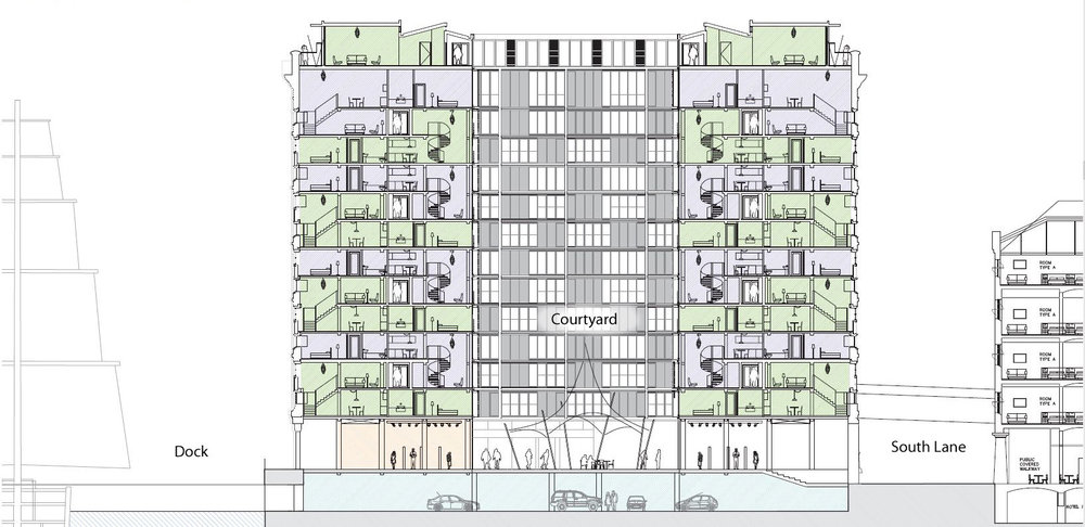 CRoss section showing commercial space on ground floor