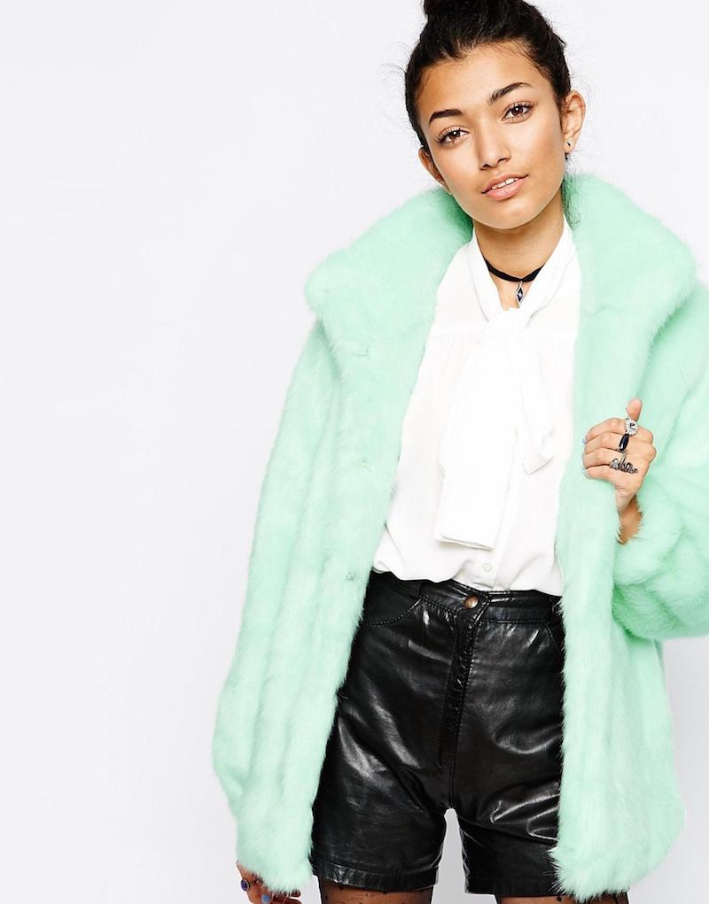 mint faux fur.