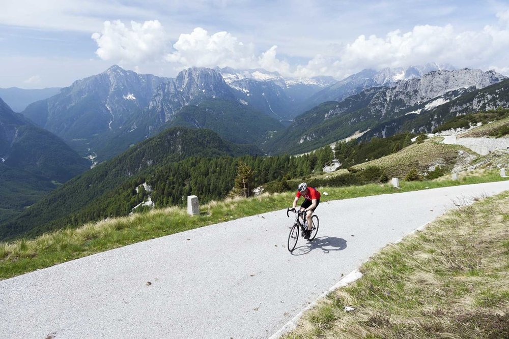Climbing to the Mangart Saddle in Slovenia. © Martin Cycling Adventures