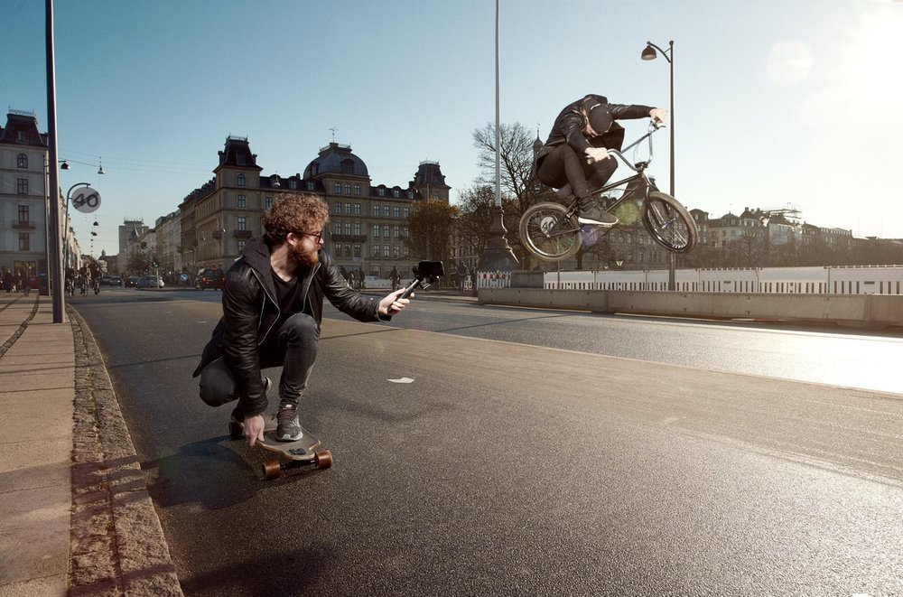 Co-fouunder and BMX rider Didrik Dimmen shooting for their Kickstarter campaign. Foto: Christoffer Rosenfeldt Photography
