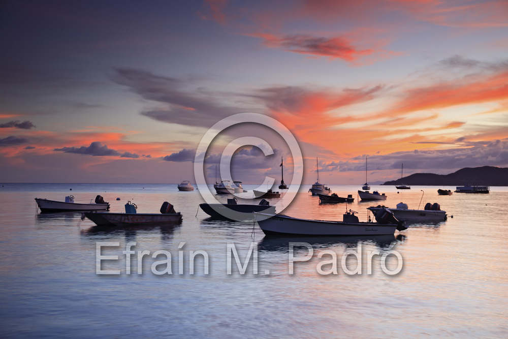 Fishing boats at sunset, Esperanza, Vieques, Puerto Rico