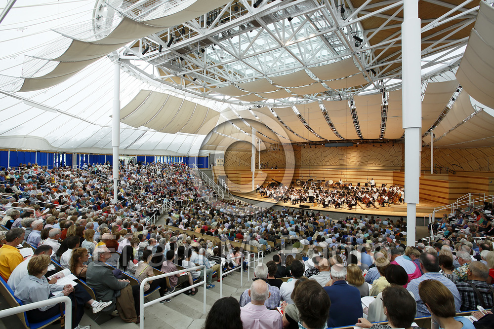 Aspen Festival Orchestra and crowd, Benedict Tent, Aspen Music Festival, Aspen, Colorado