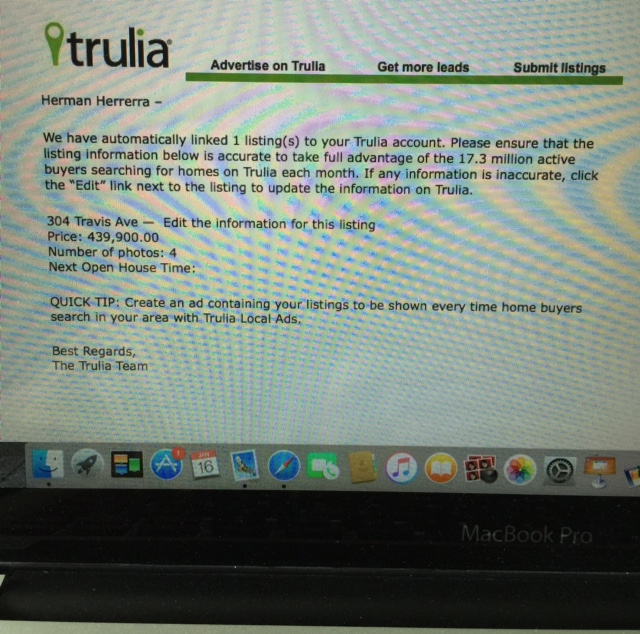 Copy of the email Trulia sent me.  Thank you Trulia...but this listing closed almost 6 years ago!!!