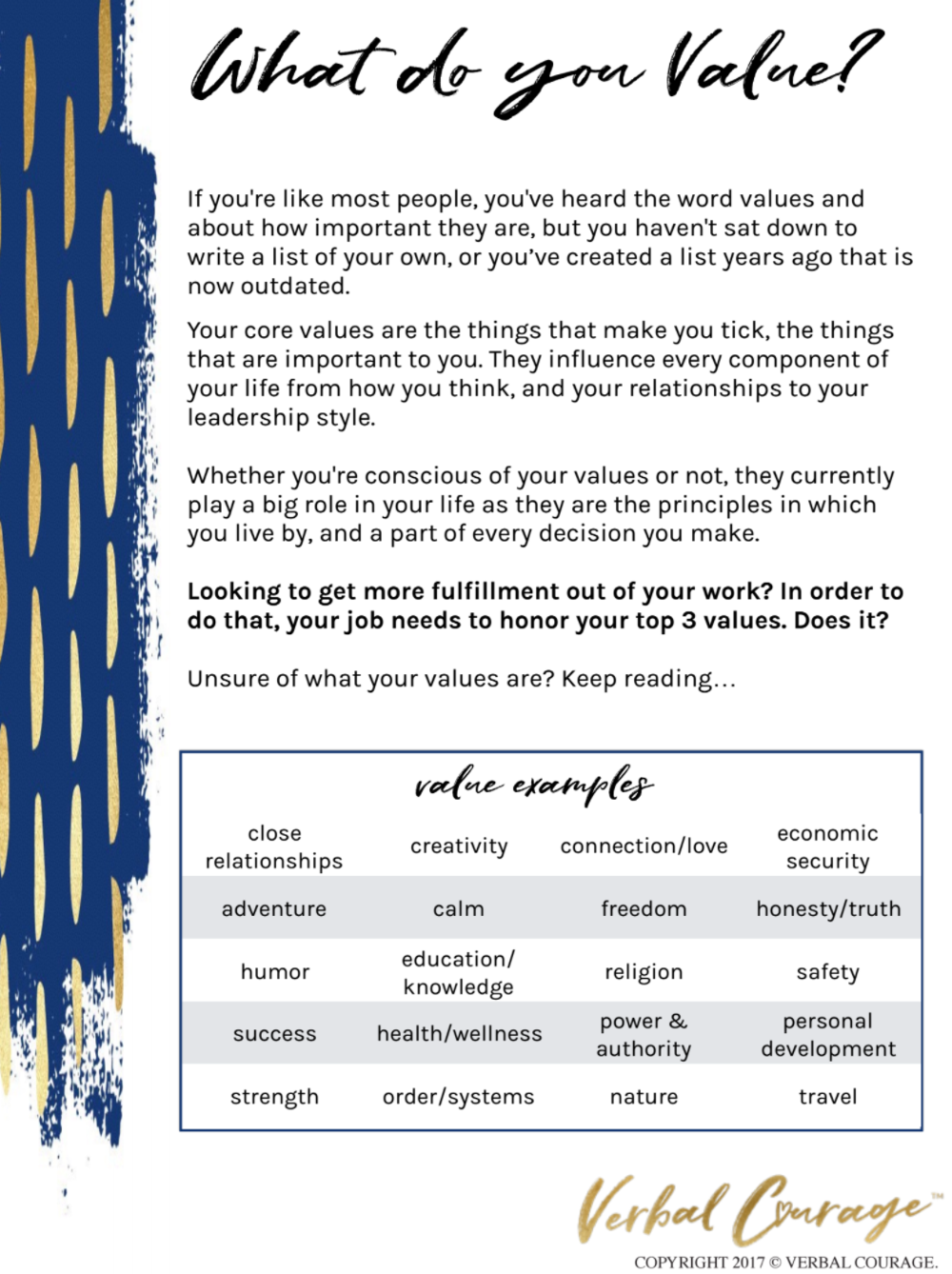 YOUR VALUES - BRING THEM INTO FOCUS