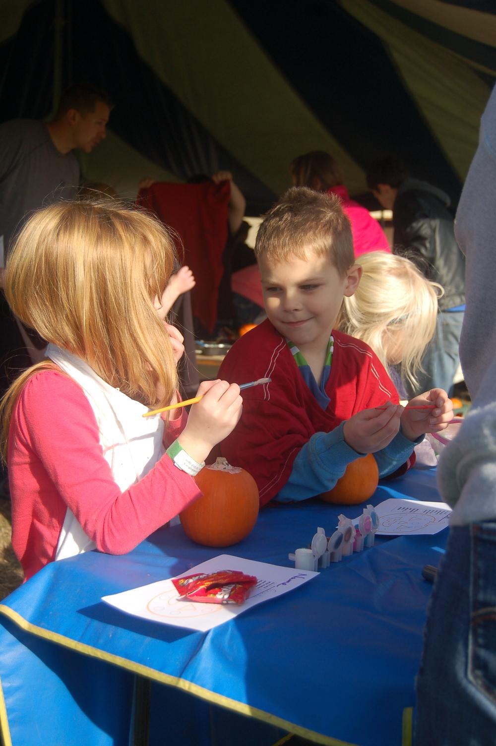 Painting Pumpkins at the Pumpkin Launch