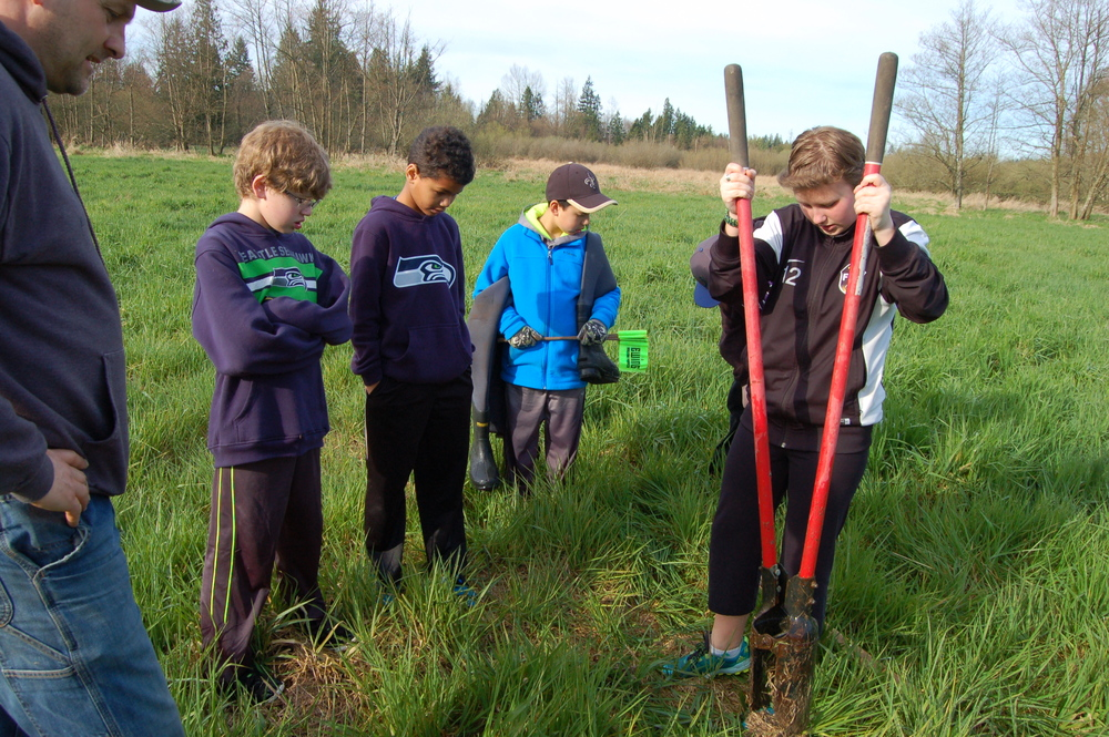 Sixth grade students dig holes in the lower field to test water levels. Their weekly data is being used to support the future fields of produce and give hands-on learning to their science studies.