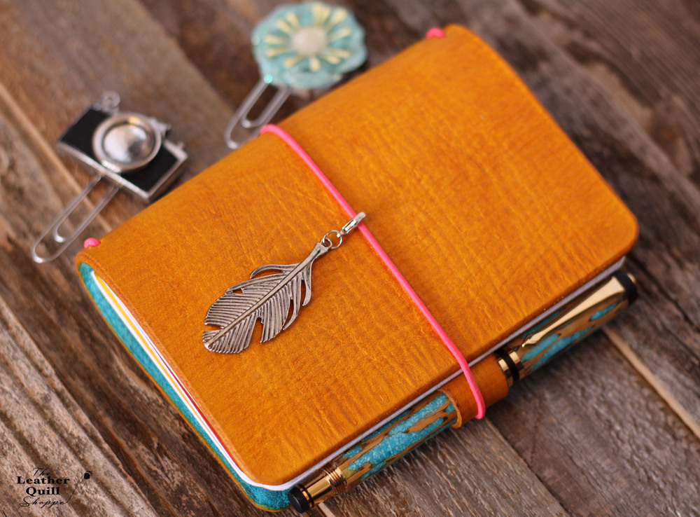 2 tone Leather Quill Travelers Notebook