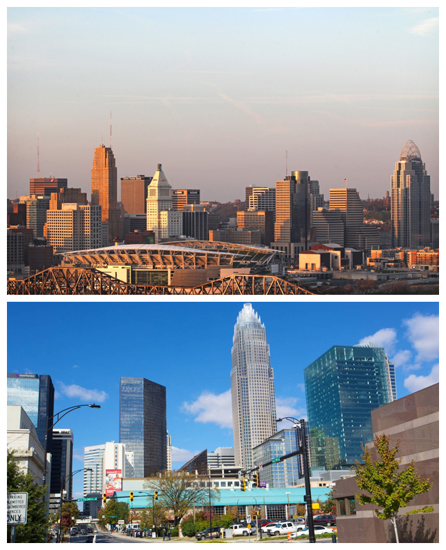 "Cincinnati and Charlotte: two municipalities who claim the title of ""Queen City."" Images via: Queen City Discovery and Expedia."