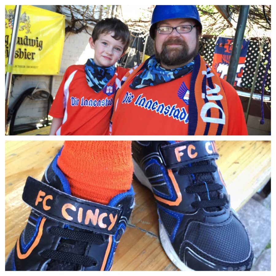 Orion and Jeremy Bentley donning their custom Die Innenstadt jerseys as well as Orion's FCC shoes. Happy Birthday, Orion!