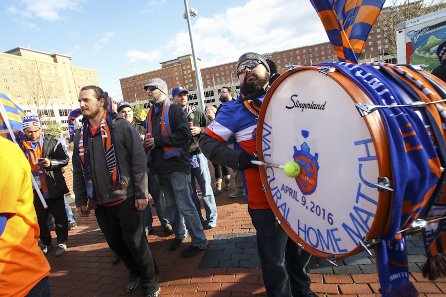 Bjorn Knudsen and his bass drum lead the march into The Bailey at the inaugural home match.