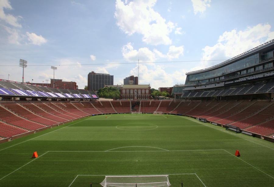 "View from the stadium's North stands known as ""The Bailey"" during FCC matches."