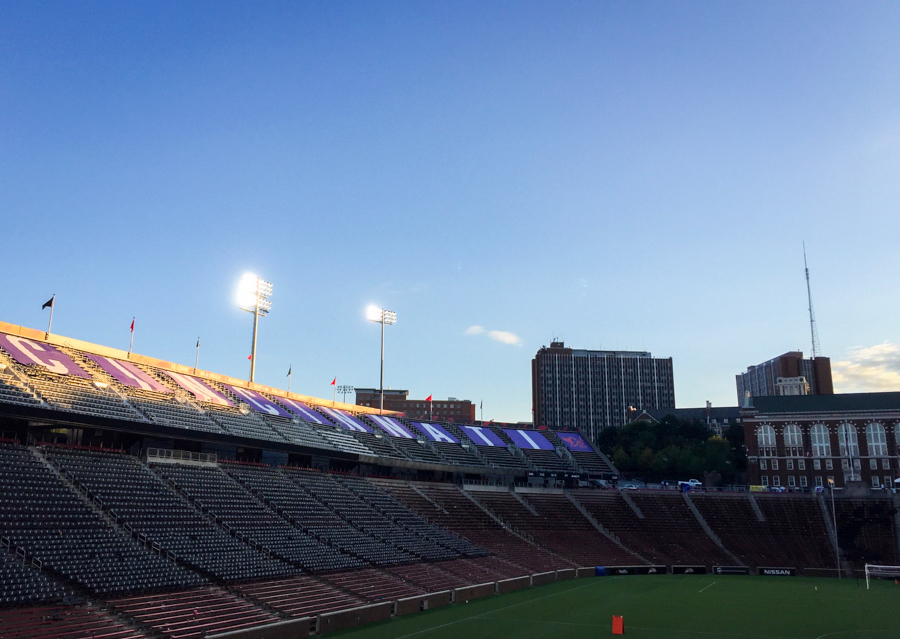 The sun sets on Nippert Stadium following the last match of the season.